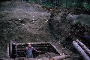 Grandpa Solomon Leppke digging the septic for the cabin
