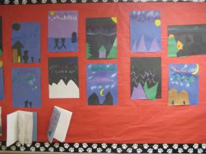 Student art in the hallway of the Tanana School