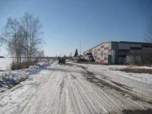 Front Street in Tanana, looking forward the school