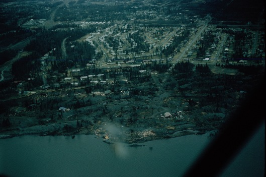 Turnagain Arm housing area, over-looking the Cook Inlet, which then sheered away in the earthquake