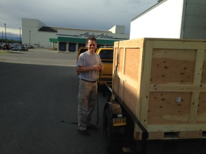 Mark Getting the  Moose Crate in Anchorage
